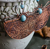 Earrings manualidades. Livemaster - hecho a mano Copper larimar earrings-Big ethnic earrings-Oriental. Handmade.