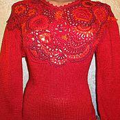 """Одежда ручной работы. Ярмарка Мастеров - ручная работа Джемпер """"красные розы"""". Handmade."""