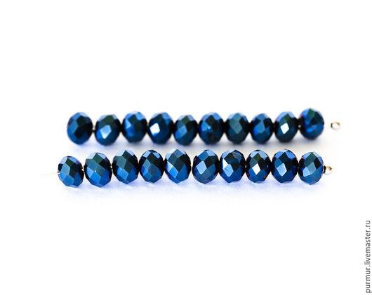 Для украшений ручной работы. Ярмарка Мастеров - ручная работа. Купить 1356_95_Синие бусины металлик 6x4мм Стеклянные бусины граненая рондель. Handmade.
