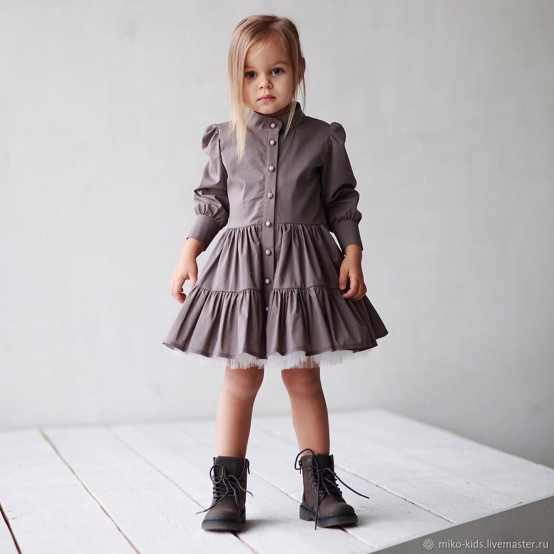Одежда для девочек, ручной работы. Ярмарка Мастеров - ручная работа. Купить Хлопковое платье -пуговки. Handmade. Платье для девочки
