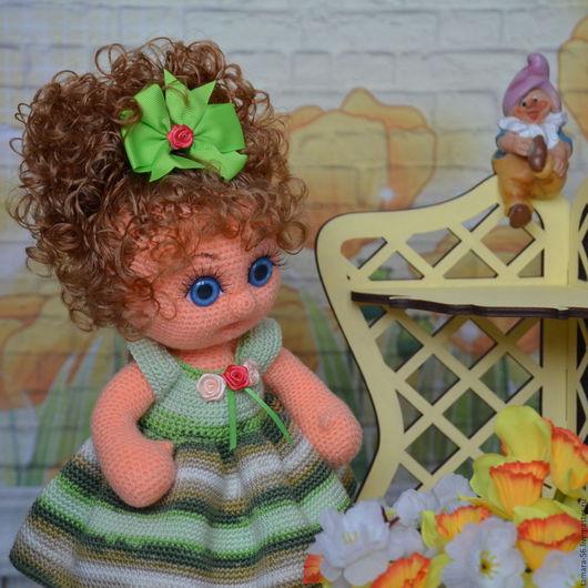 """Человечки ручной работы. Ярмарка Мастеров - ручная работа. Купить Кукла вязаная """"Олеся"""". Handmade. Зеленый, подарок девочке, синтепух"""
