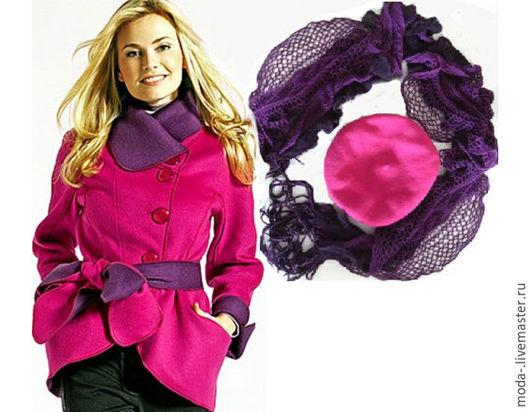 Верхняя одежда ручной работы. Ярмарка Мастеров - ручная работа. Купить берет+шарф+пальто двустороннее новые. Miss Lo.. Handmade. Комбинированный