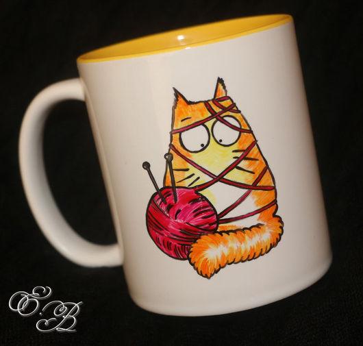Кружки и чашки ручной работы. Ярмарка Мастеров - ручная работа. Купить Солнечный котик с клубочком. Handmade. Комбинированный, кот, лето