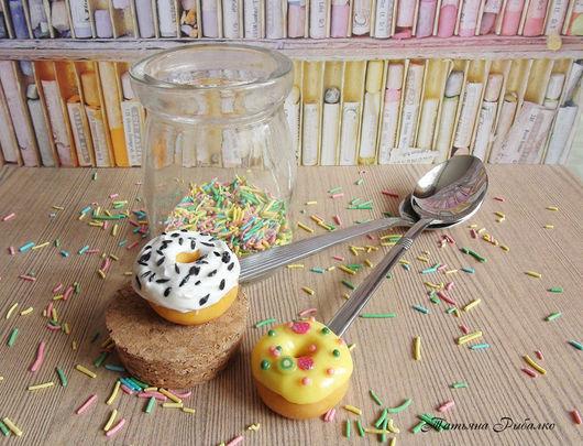 """Ложки ручной работы. Ярмарка Мастеров - ручная работа. Купить Вкусная ложечка """"Сладкий пончик"""". Handmade. Разноцветный, нержавеющая сталь"""