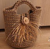 Сумки и аксессуары handmade. Livemaster - original item The basket purse is crocheted of jute.