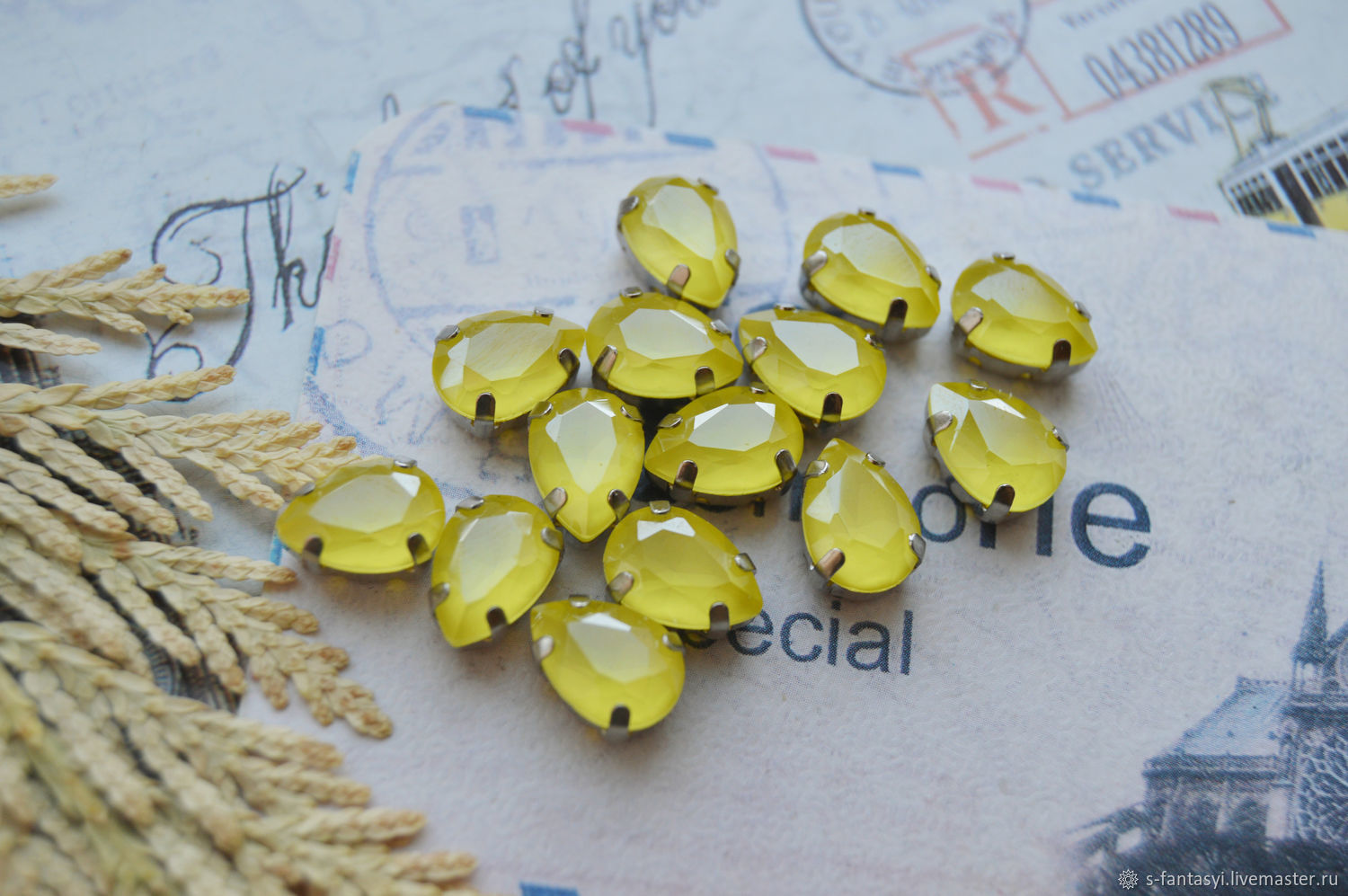 Drop 7h10 lemon lacquer LUX in DAC, Cabochons, Stavropol,  Фото №1