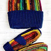 Шапки ручной работы. Ярмарка Мастеров - ручная работа Комплект шапка и варежки. Handmade.