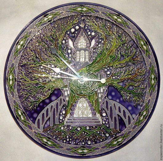 """Часы для дома ручной работы. Ярмарка Мастеров - ручная работа. Купить Витражные часы """"Эльфийский Змок"""". Handmade. Витражные часы"""