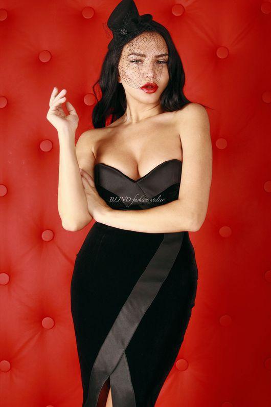 Платья ручной работы. Ярмарка Мастеров - ручная работа. Купить Платье-футляр 00168. Handmade. Черный, платье, blind