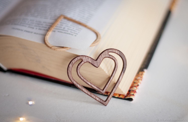Резная закладка для книги в форме сердца, Упаковка, Солнечногорск,  Фото №1