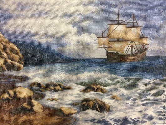"""Пейзаж ручной работы. Ярмарка Мастеров - ручная работа. Купить Вышивка крестом. Картина """"Корабль в море"""". Handmade. Картина, море"""