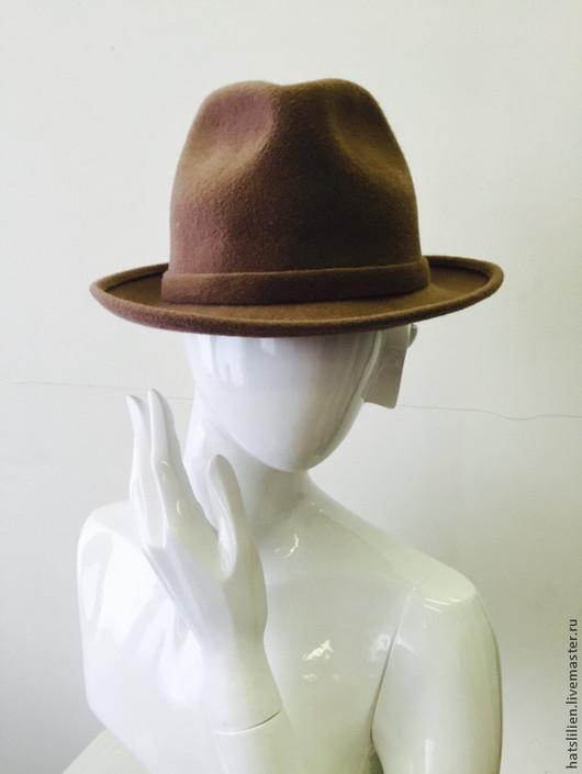 """Шляпы ручной работы. Ярмарка Мастеров - ручная работа. Купить Велюровая шляпа """"Федора"""", коричневая. Handmade. Фетр, унисекс, федора"""
