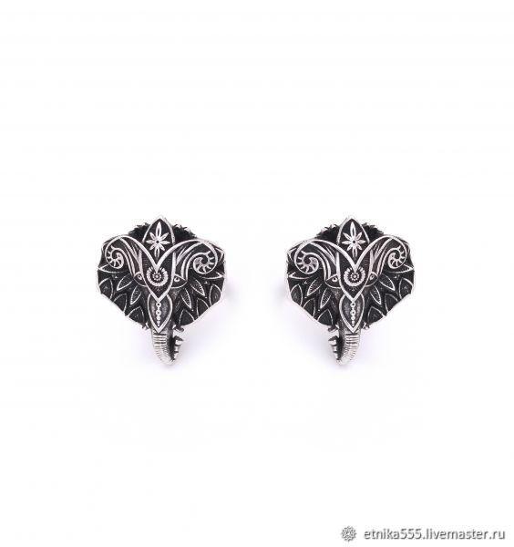 Earrings-ear-stud African elephant, Stud earrings, Belaya Cerkov,  Фото №1