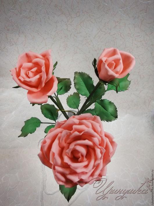 """Цветы ручной работы. Ярмарка Мастеров - ручная работа. Купить Роза на стебле ручной работы, из фоамирана """"Нежный персик"""""""". Handmade."""
