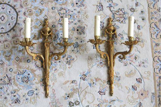 Винтажные предметы интерьера. Ярмарка Мастеров - ручная работа. Купить Бра большие на 2 свечи. Handmade. Золотой, светильник, латунь