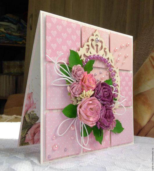 Открытки на все случаи жизни ручной работы. Ярмарка Мастеров - ручная работа. Купить Розы. Handmade. Розовый, открытка на день рождения