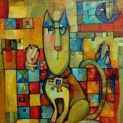 Картины и панно ручной работы. Ярмарка Мастеров - ручная работа Авторская живопись с котом и вороной большая картина. Handmade.
