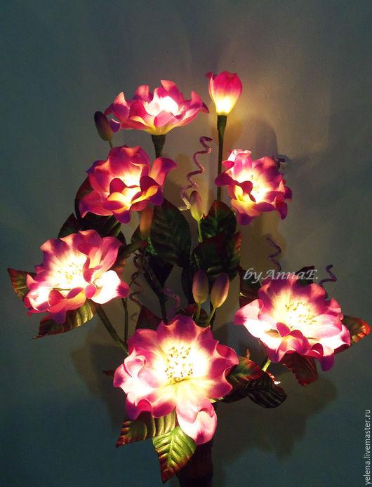 """Освещение ручной работы. Ярмарка Мастеров - ручная работа. Купить Букет-светильник  """"Прелесть"""". Handmade. Светильник, букет цветов"""