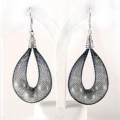 Украшения handmade. Livemaster - original item Mesh tube earrings with pearls. Handmade.
