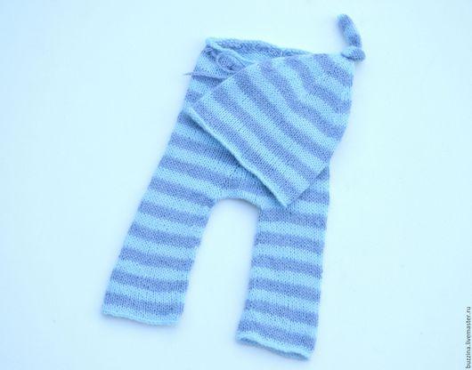 Для новорожденных, ручной работы. Ярмарка Мастеров - ручная работа. Купить Комплект для фотосессии штанишки + шапочка Полосатик. Handmade.