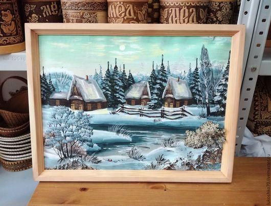 """Пейзаж ручной работы. Ярмарка Мастеров - ручная работа. Купить Картина из бересты """"Зима"""". Панно из бересты. Handmade. Береста"""