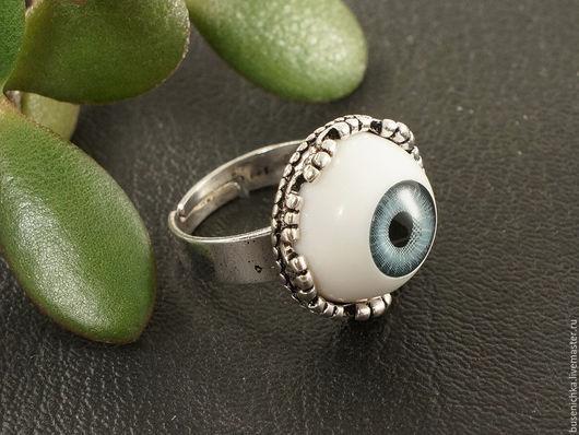 Кольца ручной работы. Ярмарка Мастеров - ручная работа. Купить Кольцо Глаз серо-голубой №2 (16мм). Handmade. Глаз