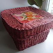 Для дома и интерьера ручной работы. Ярмарка Мастеров - ручная работа Коробка-шкатулка из бумажной лозы. Handmade.