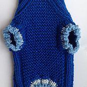 Для домашних животных, ручной работы. Ярмарка Мастеров - ручная работа Синий вязаный свитер для маленькой собачки. Handmade.