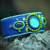 Украшения ручной работы. Ярмарка Мастеров - ручная работа Синий вышитый бисером браслет. Handmade.