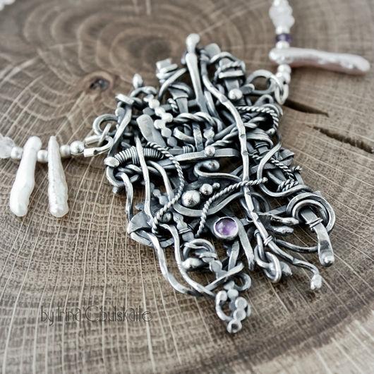 """Колье, бусы ручной работы. Ярмарка Мастеров - ручная работа. Купить Колье из серебра """"Rete"""". Handmade. Серебро, бива, фиолетовый"""