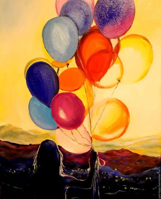 Фантазийные сюжеты ручной работы. Ярмарка Мастеров - ручная работа. Купить картина маслом Шары для настроения. Handmade. Воздушные шары