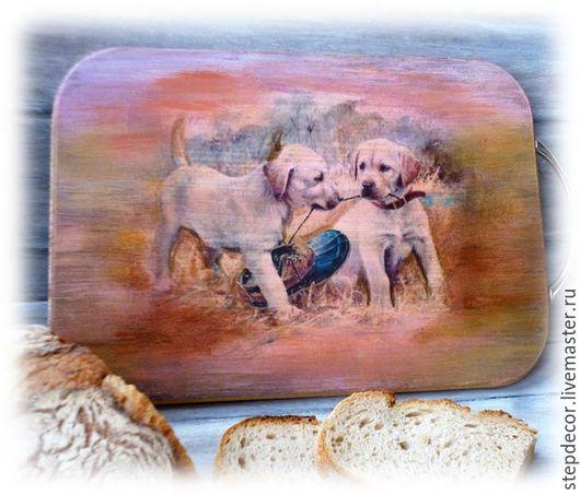 """Кухня ручной работы. Ярмарка Мастеров - ручная работа. Купить Разделочная доска """"Лабрадорчики"""". Handmade. Оранжевый, щенята, дом"""
