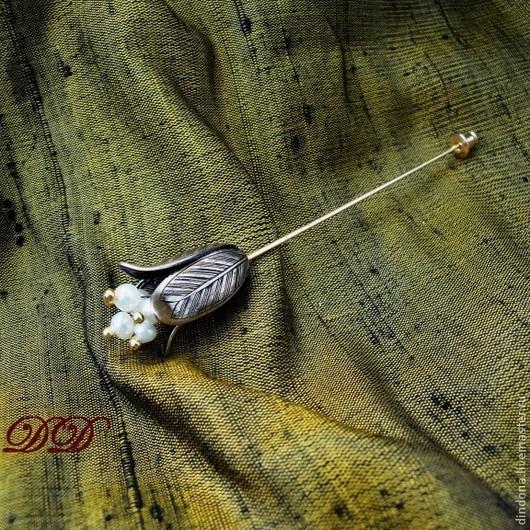 """Броши ручной работы. Ярмарка Мастеров - ручная работа. Купить """"Бутоньерка"""". Handmade. Брошь булавка, натуральный жемчуг, бутоньерка"""