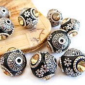 Материалы для творчества handmade. Livemaster - original item Beads Indonesia clay black with lemon rhinestones 14h16mm. Handmade.