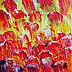 Абстракция ручной работы. Ярмарка Мастеров - ручная работа. Купить Лето. Абстракция,  30х50 см. Handmade. Ярко-красный, мастихин