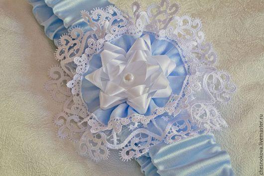 """Для новорожденных, ручной работы. Ярмарка Мастеров - ручная работа. Купить Бант на выписку""""изящный акцент""""  голубой. Handmade. Голубой, для новорожденного"""