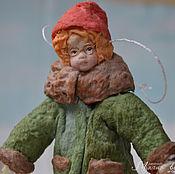 Подарки к праздникам ручной работы. Ярмарка Мастеров - ручная работа Ватная елочная игрушка УМНИК КОСТЯ. Handmade.