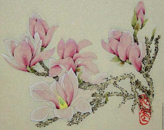 Картины цветов ручной работы. Ярмарка Мастеров - ручная работа. Купить картина Магнолия(китайская живопись цветы акварель пастельные тона. Handmade.