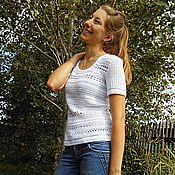 Одежда ручной работы. Ярмарка Мастеров - ручная работа Белая блуза из хлопка с вискозой.. Handmade.