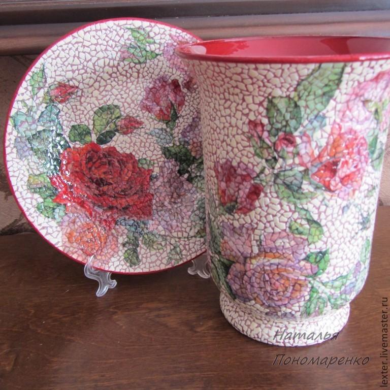 Вазы ручной работы. Стеклянная ваза  Любимые розы