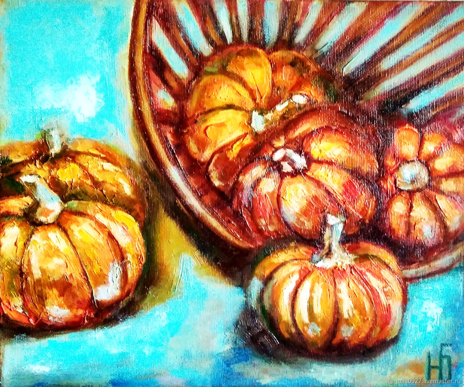 Pumpkin painting, oil still life with pumpkins in a basket on a blue background, Pictures, Ekaterinburg,  Фото №1