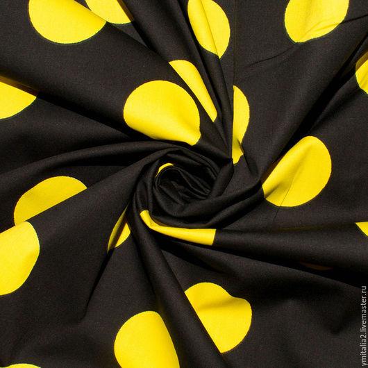 Шитье ручной работы. Ярмарка Мастеров - ручная работа. Купить Поплин хлопковый черный в желтый горох KENZO. Handmade. Комбинированный