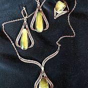 "Украшения handmade. Livemaster - original item A set of gold with amber. ""Swing"". Handmade."