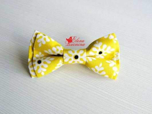 Галстуки, бабочки ручной работы. Ярмарка Мастеров - ручная работа. Купить Бабочка галстук желтая, хлопок. Handmade. Желтый, белый