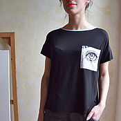 Одежда handmade. Livemaster - original item Black t-shirt made of cotton with patch pocket pattern. Handmade.