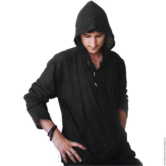 Для мужчин, ручной работы. Ярмарка Мастеров - ручная работа. Купить Черная Рубашка с капюшоном. Handmade. Черный, субкультуры, лето