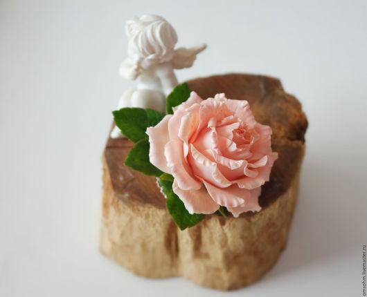 """Заколки ручной работы. Ярмарка Мастеров - ручная работа. Купить Зажим для волос """"Персиковая роза"""". Handmade. Бежевый, персиковая роза"""