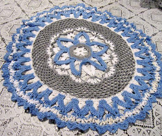 Текстиль, ковры ручной работы. Ярмарка Мастеров - ручная работа. Купить Салфетка 38 см. Handmade. Голубой, салфетка декоративная