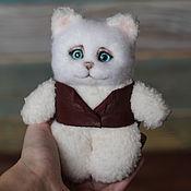 Куклы и игрушки handmade. Livemaster - original item Cat in a leather vest plush toy. Handmade.