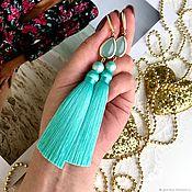 Украшения handmade. Livemaster - original item Earring of the brush mint light turquoise light green. Handmade.